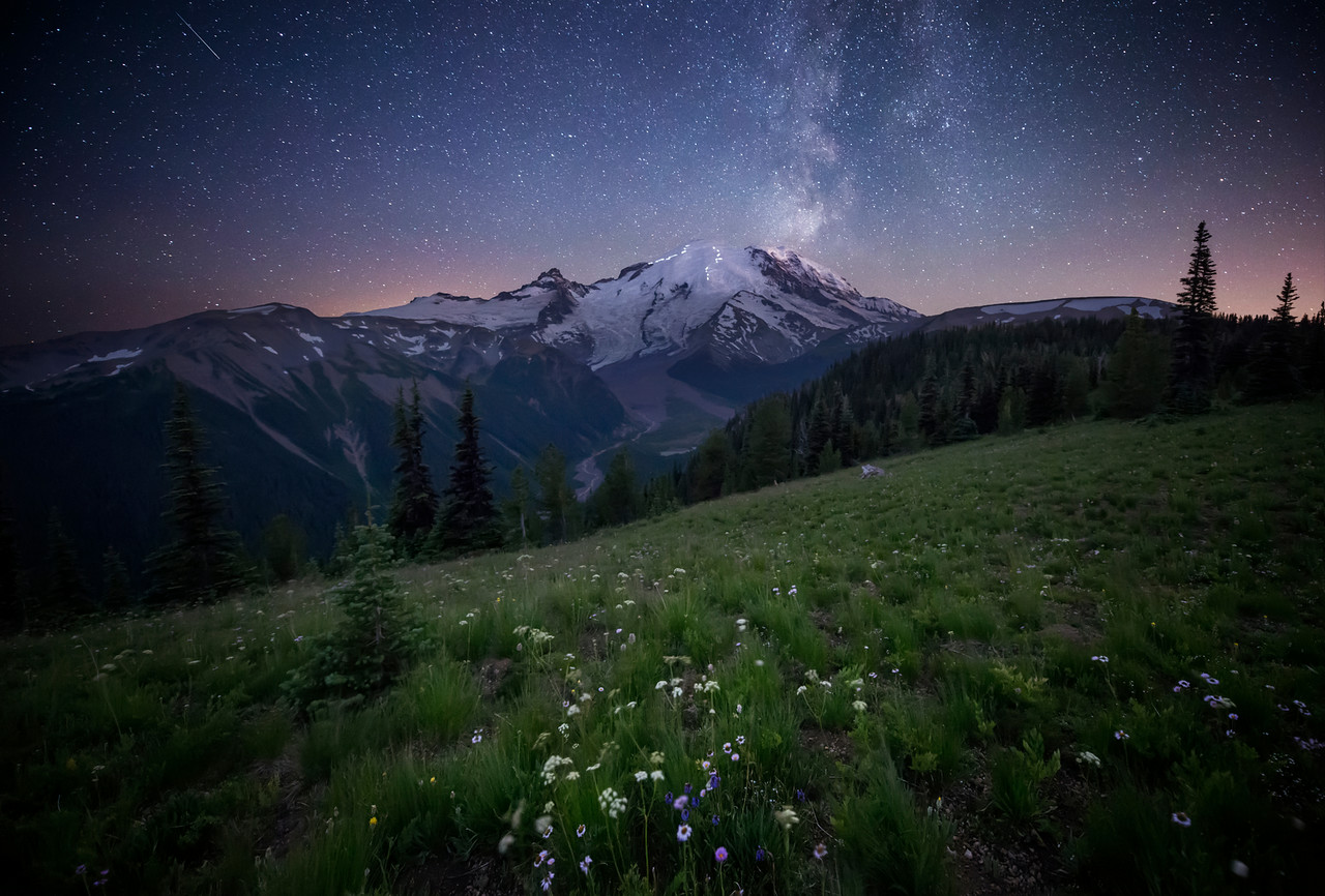 Inspirational Beautiful Night Sky Mount Rainier