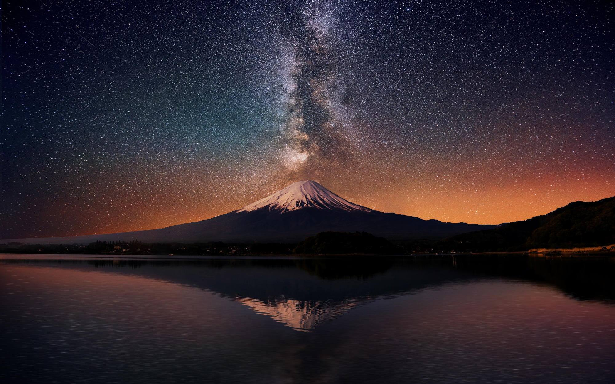 Mount Fuji Night Sky Beautiful