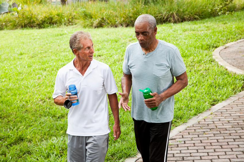 Older Men Drinking Water After Exercise Healthy Living