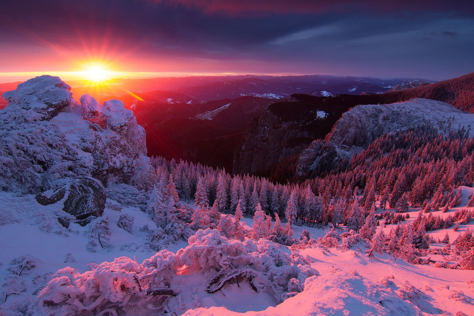 incredible winter sunset